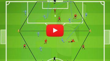 [Video Ejercicio] Partido en Hexágono, pases verticales, superar líneas defensivas, tercer hombre
