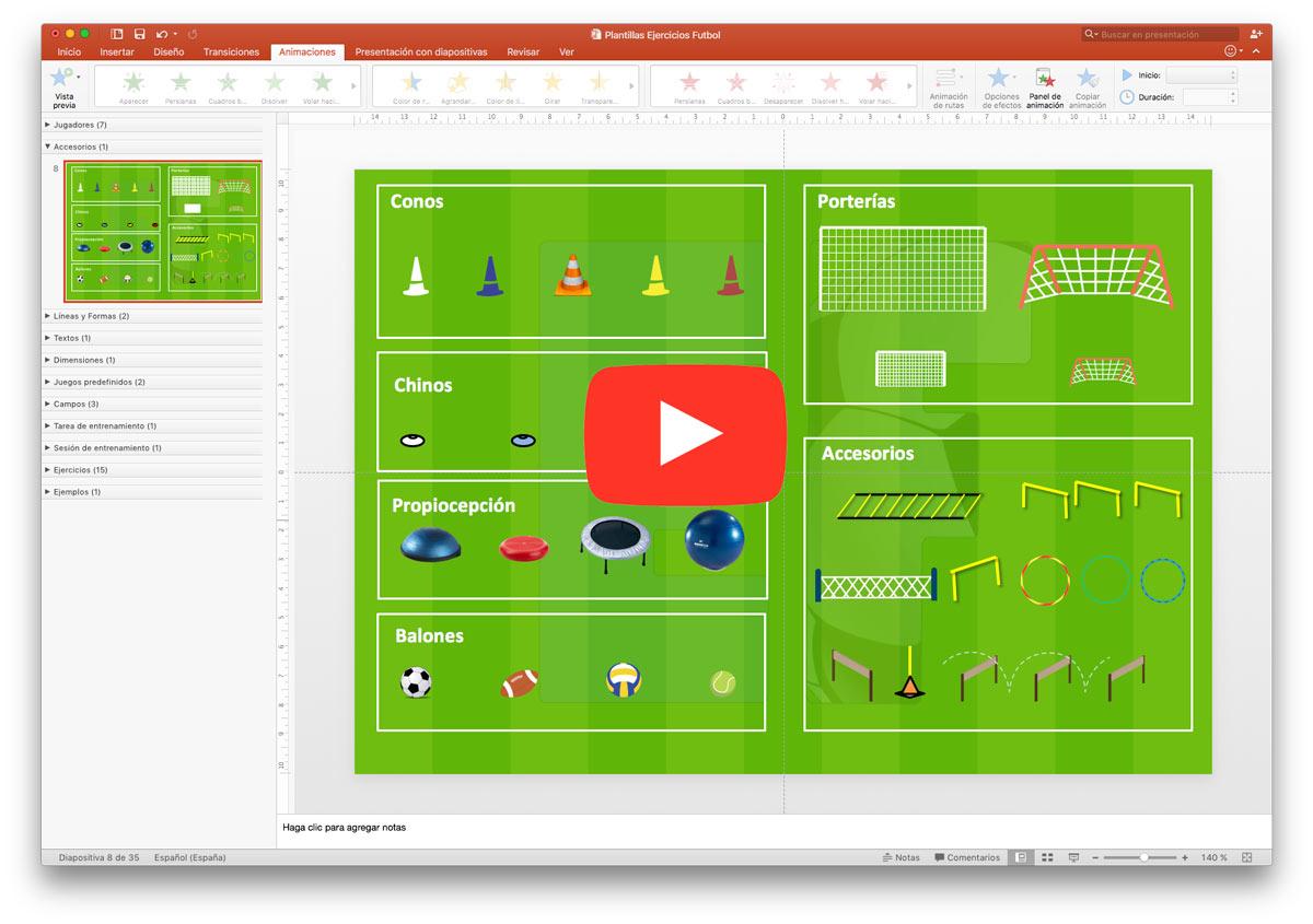 Ejercicios Fútbol - Plantilla Powerpoint Ejercicios Fútbol